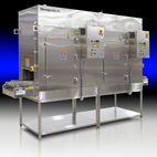 Stainless steel HEPA filtered Despatch conveyor oven in end-to-end configuration